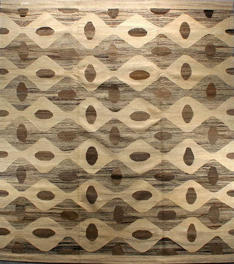 Contemporary Natural Artisan Flatweave Rug