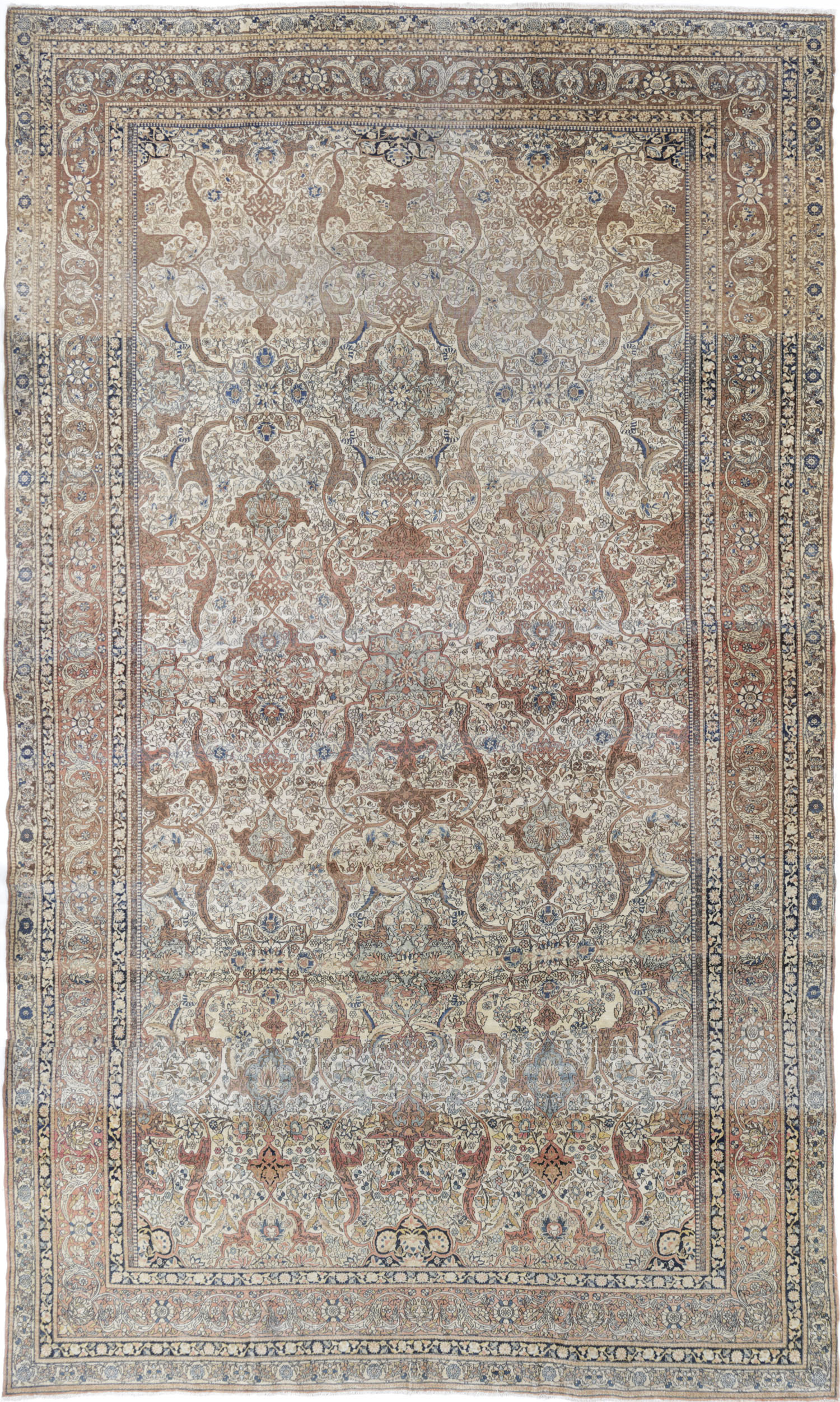 Antique Persian Distressed Fine Isfahan Rug