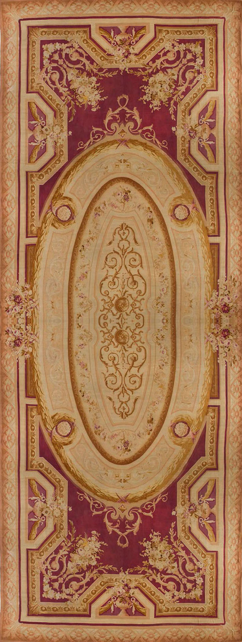 Oversize Antique French Aubusson Rug