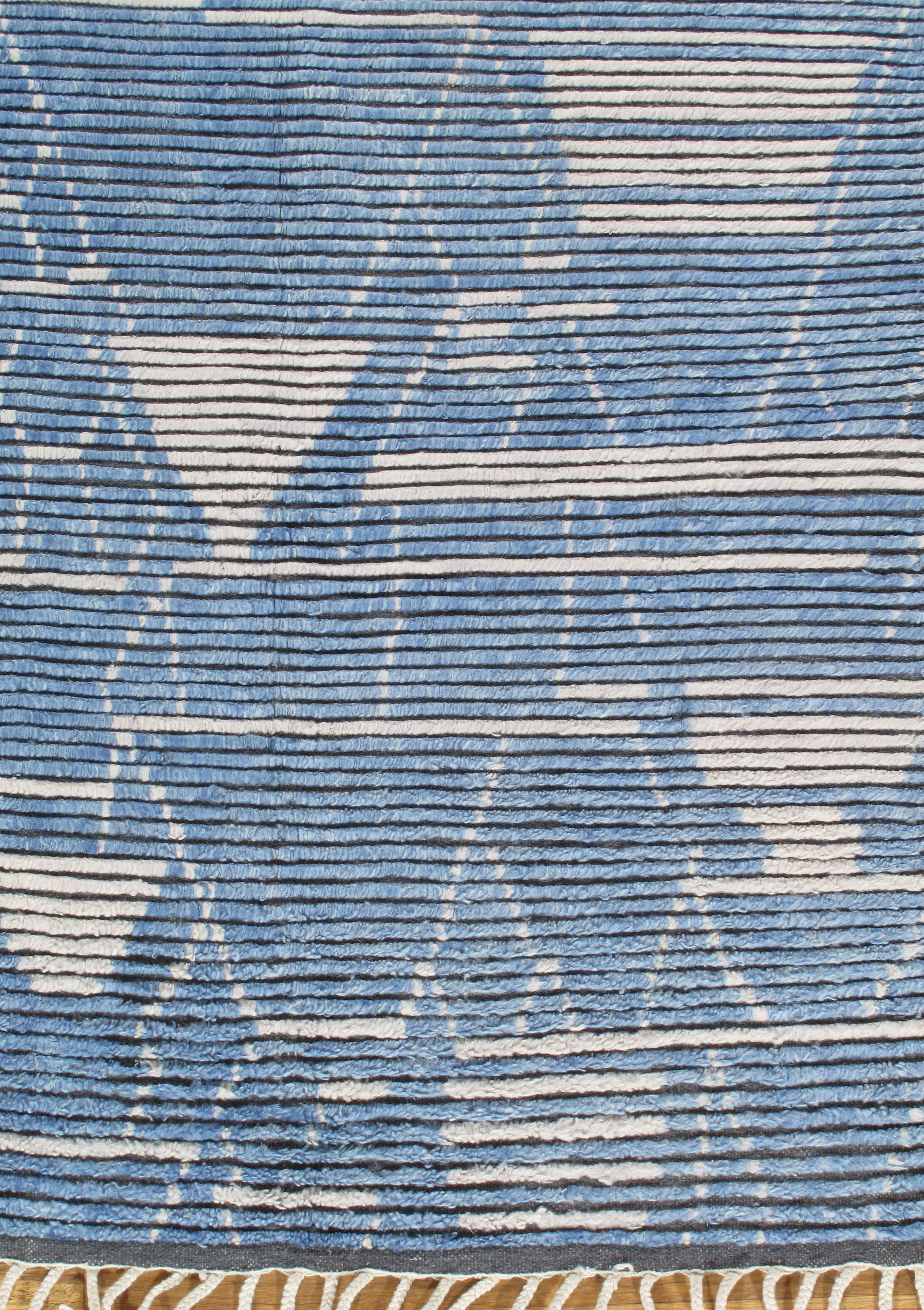 Moroccan Collection Fluffy Blue Ivory Rug