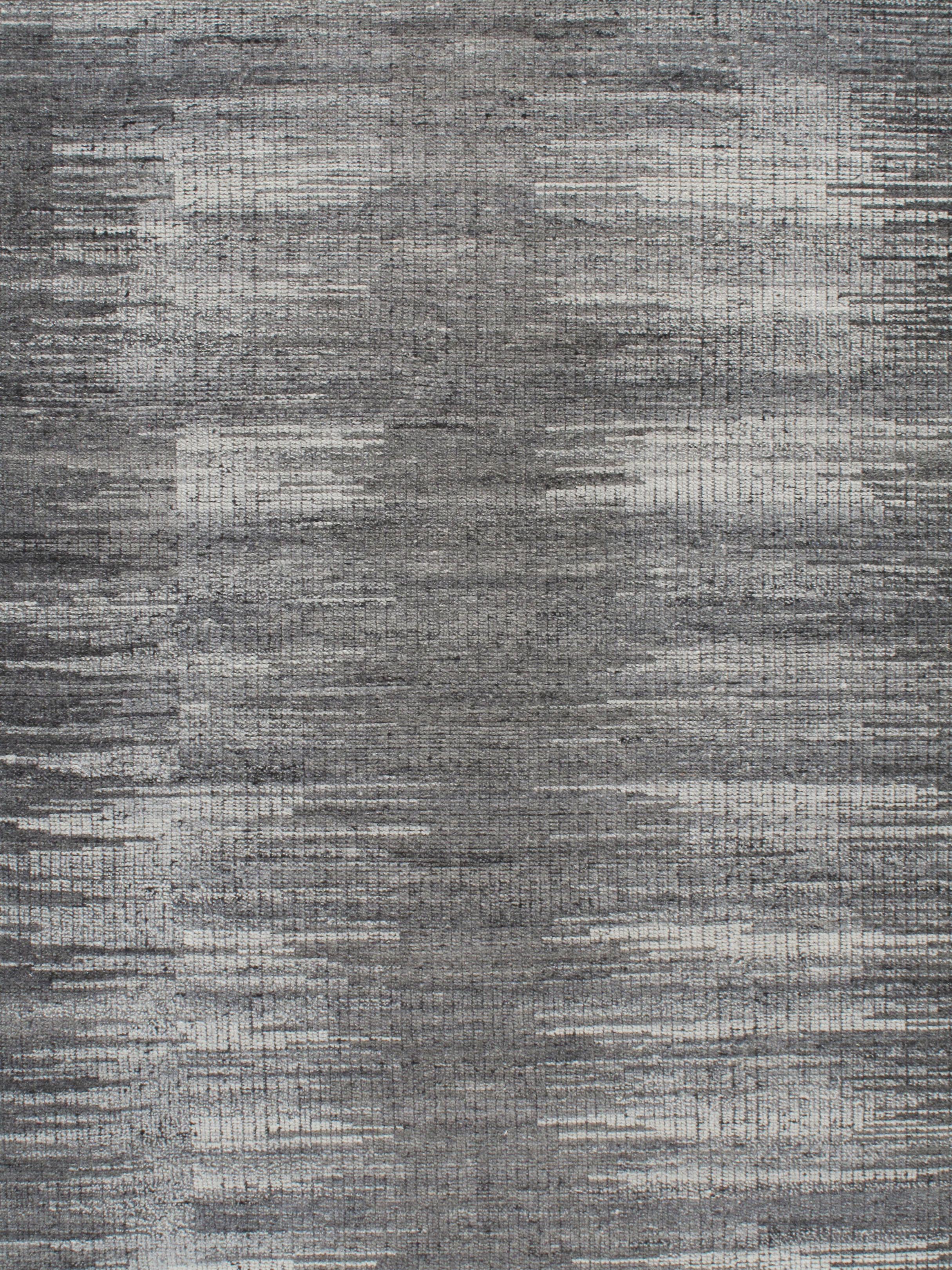 Contemporary Ikat Black Ivory Rug