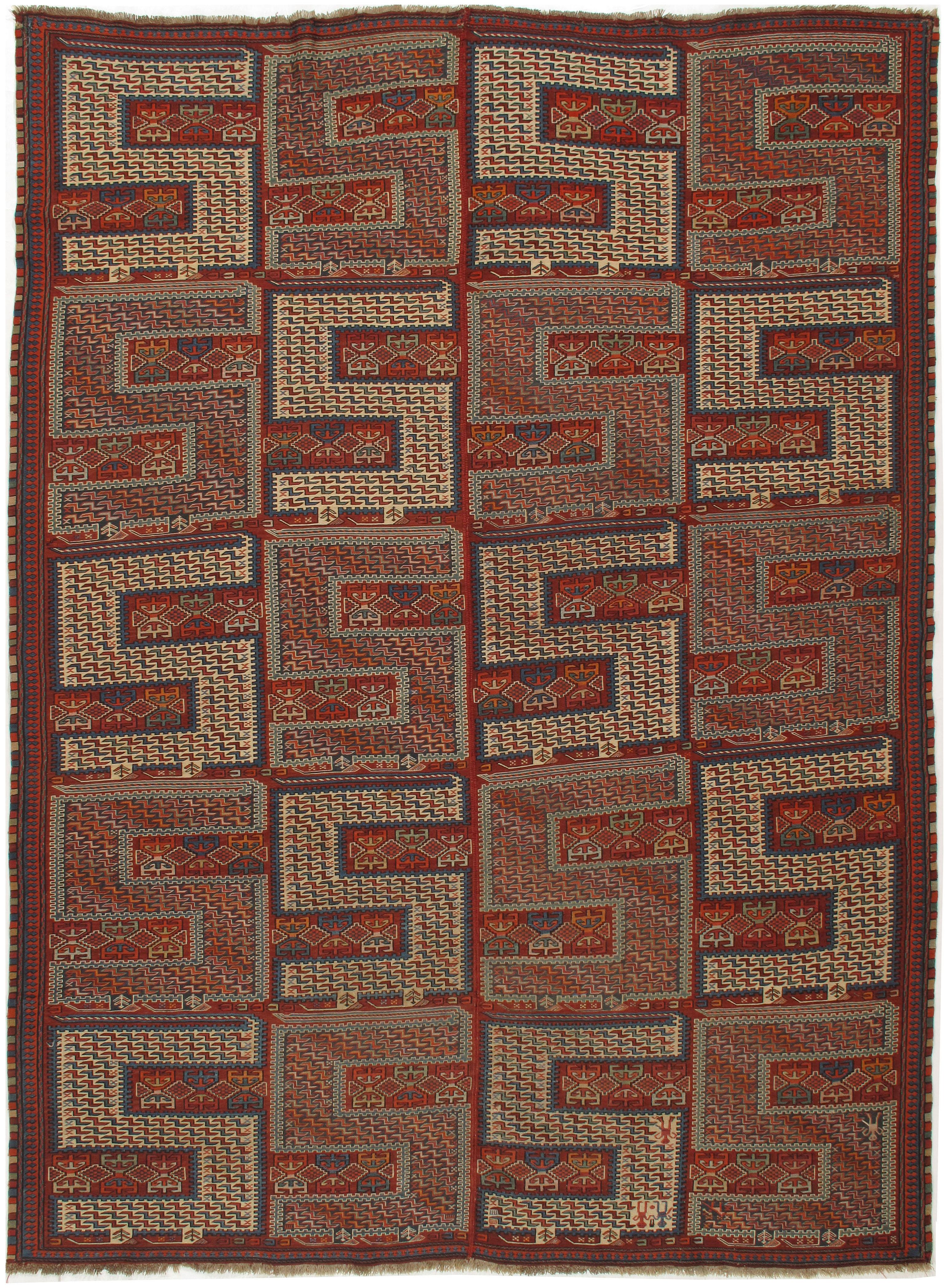 Antique Caucasian Zileh Flat Weave Rug