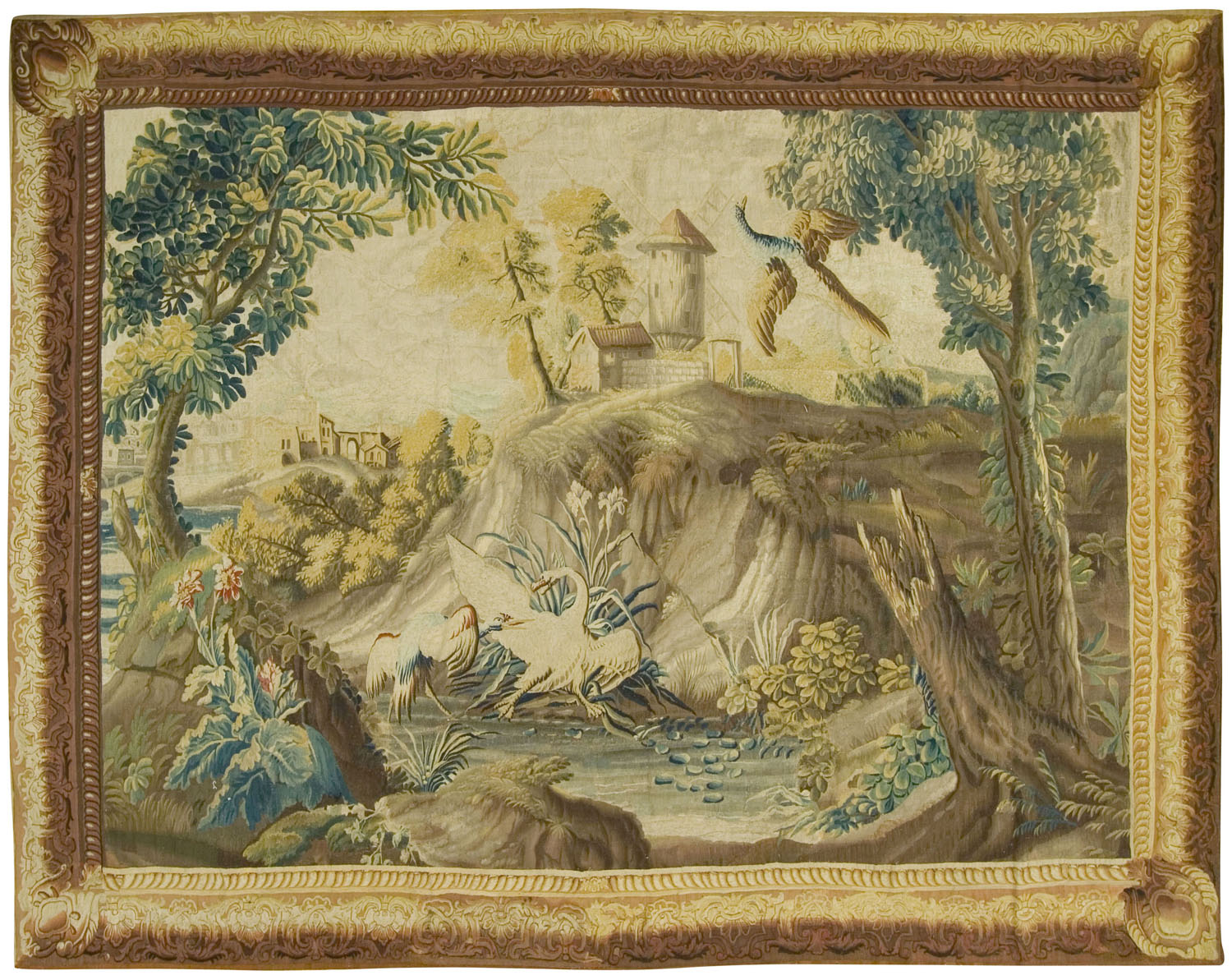 French Landscape Tapestry probably Beauvais