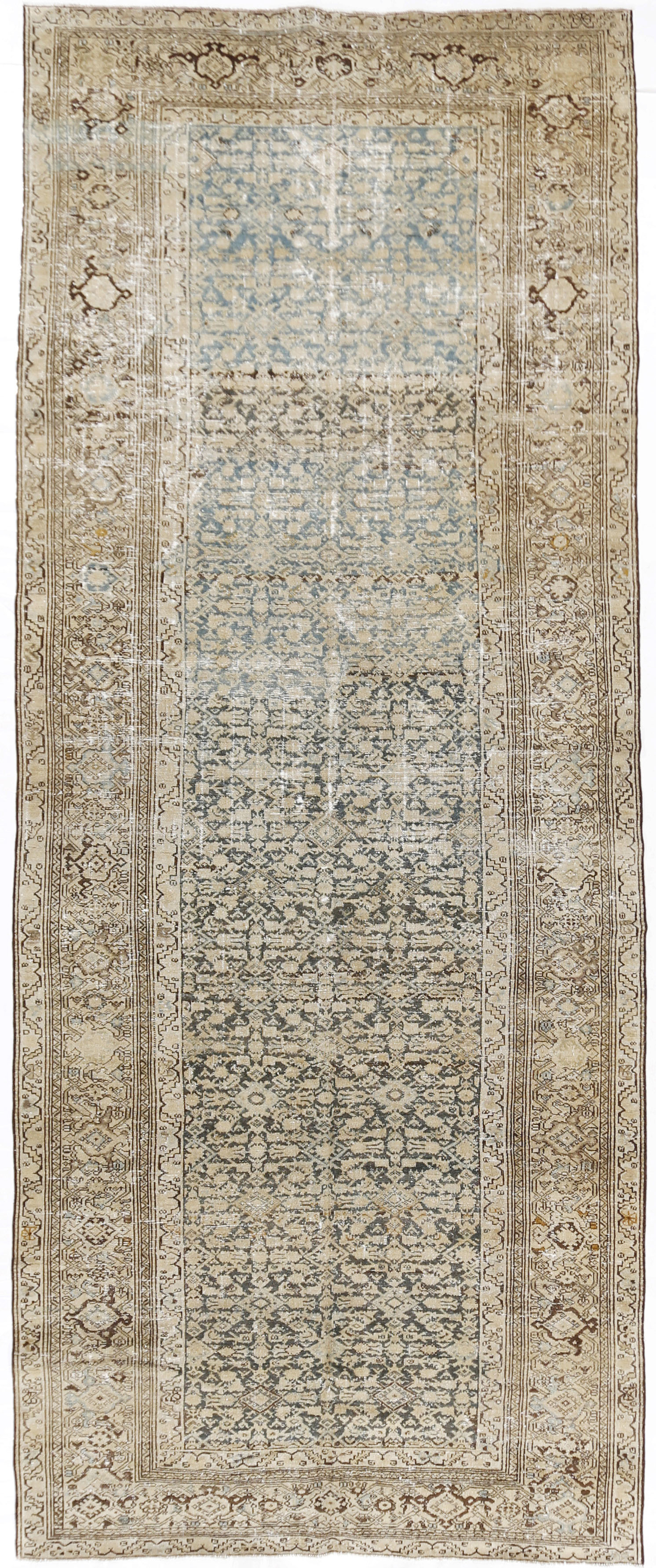 Antique Distressed Persian Malayer Rug