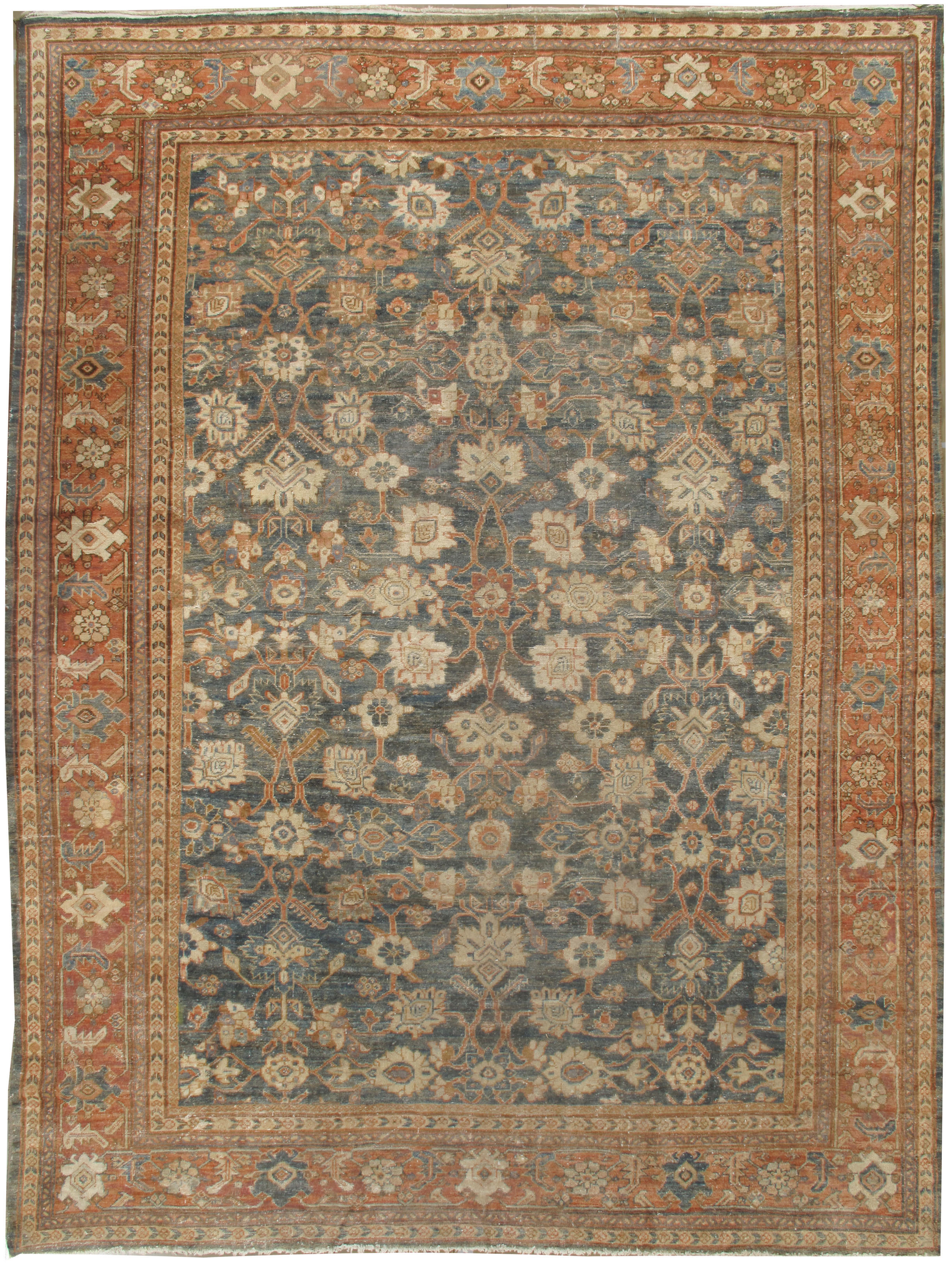 Antique Lightly Distressed Persian Sultanabad Rug