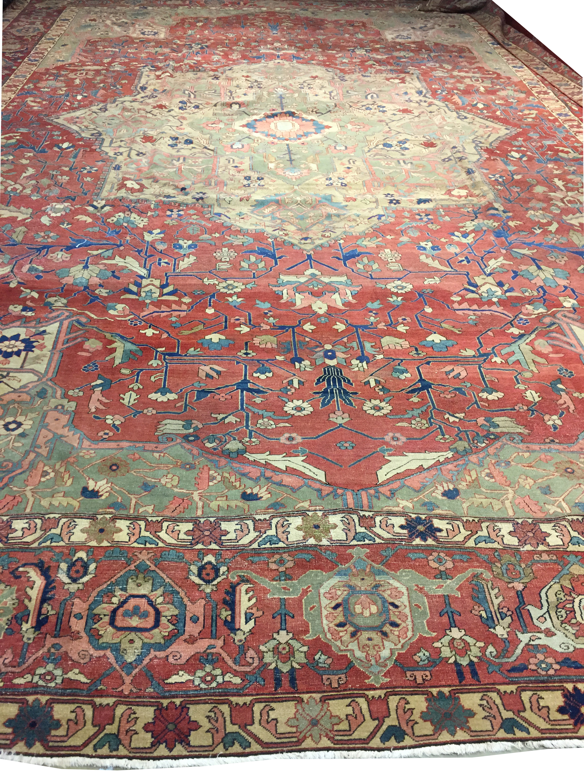 Antique Oversize Persian Heriz Serapi Rug