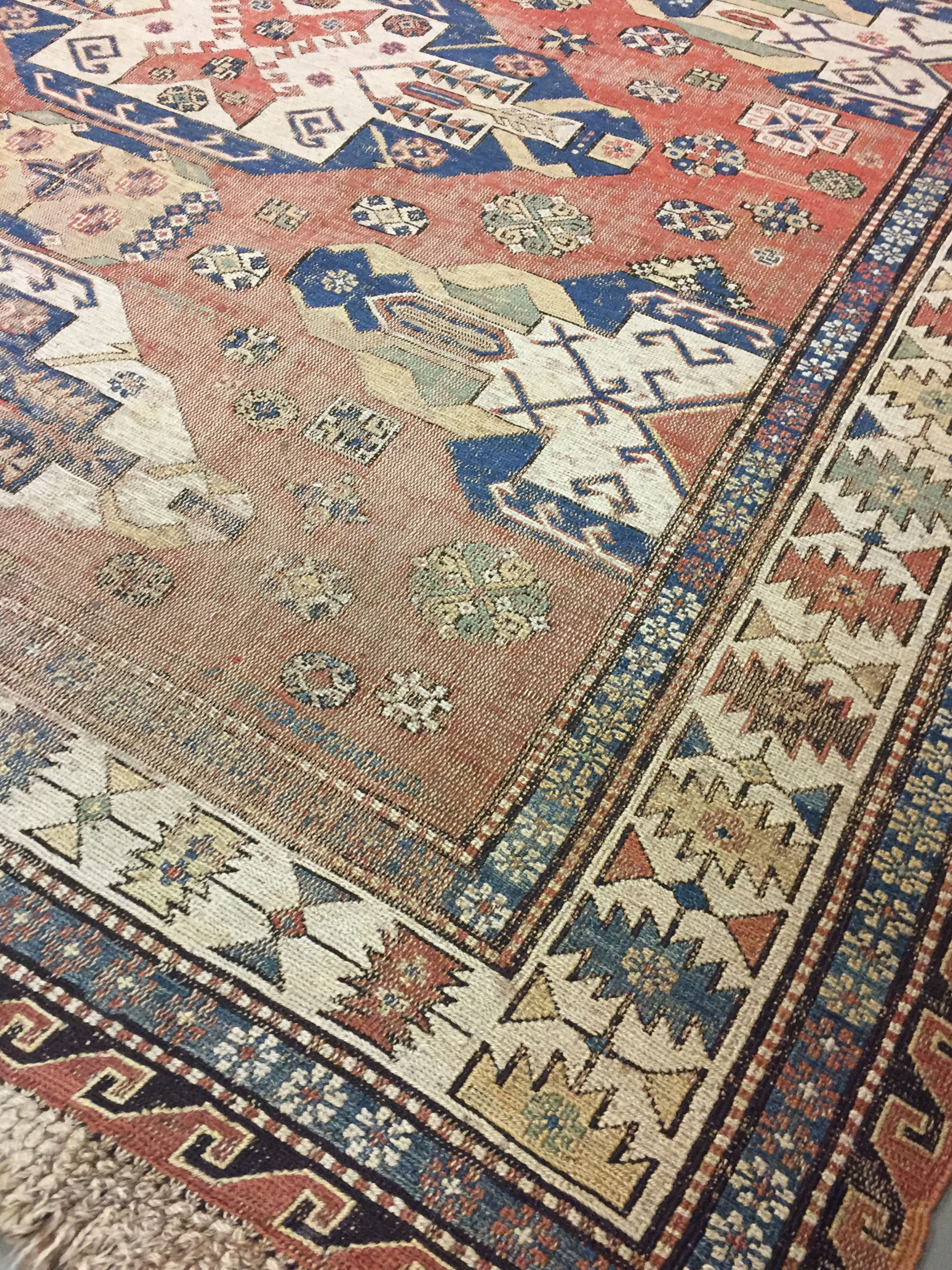 Antique Distressed Soumac Rug