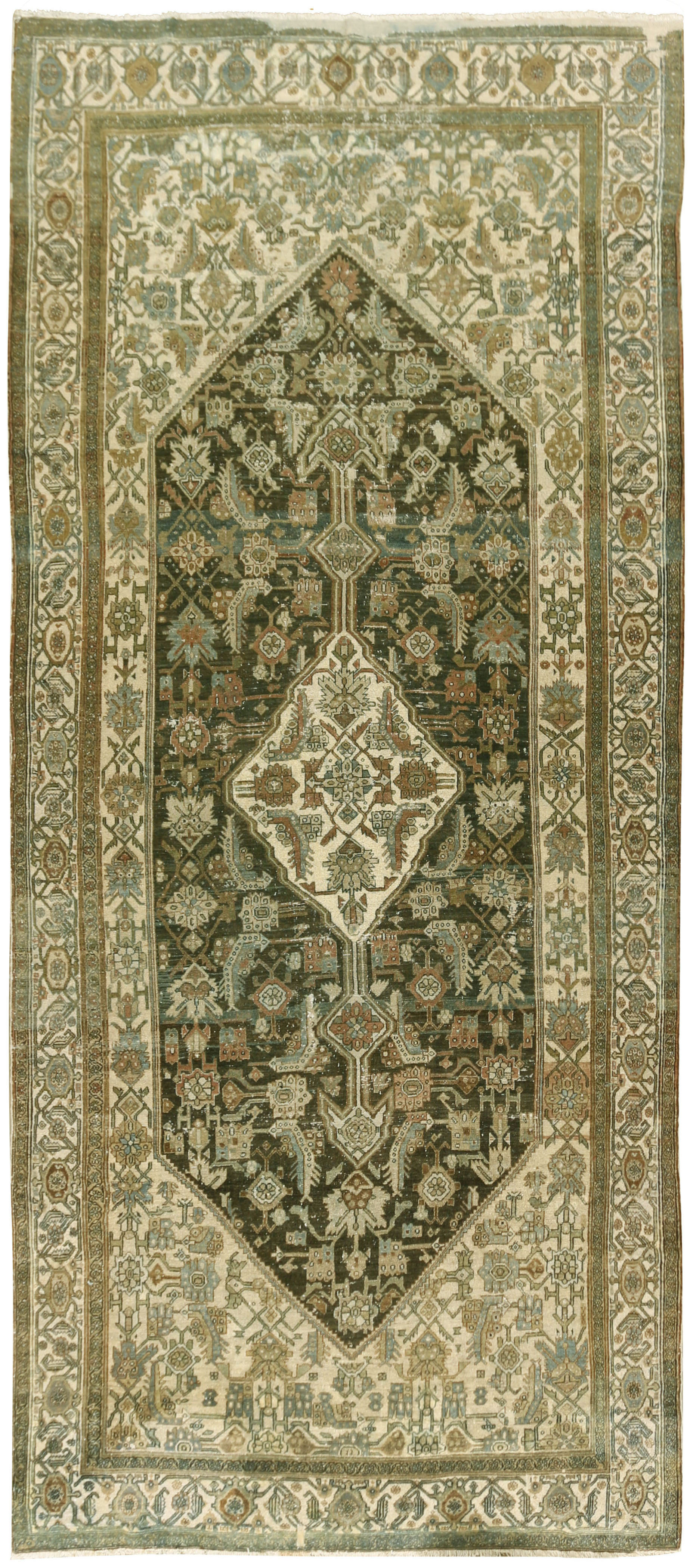 Antique Slightly Distressed Persian Bibikabad Rug