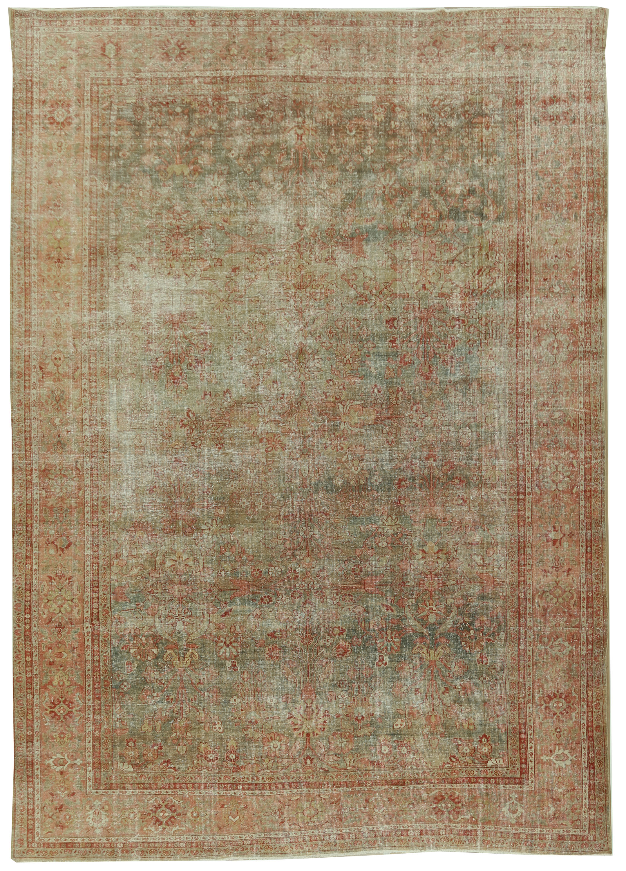 Antique Distressed Persian Sultanabad Rug