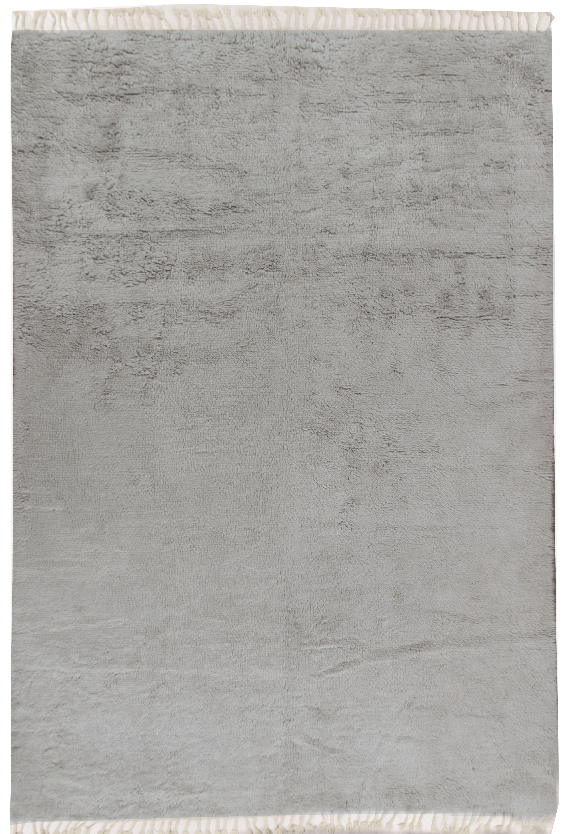Moroccan Fluffy Collection Rug Solid Lt Grey