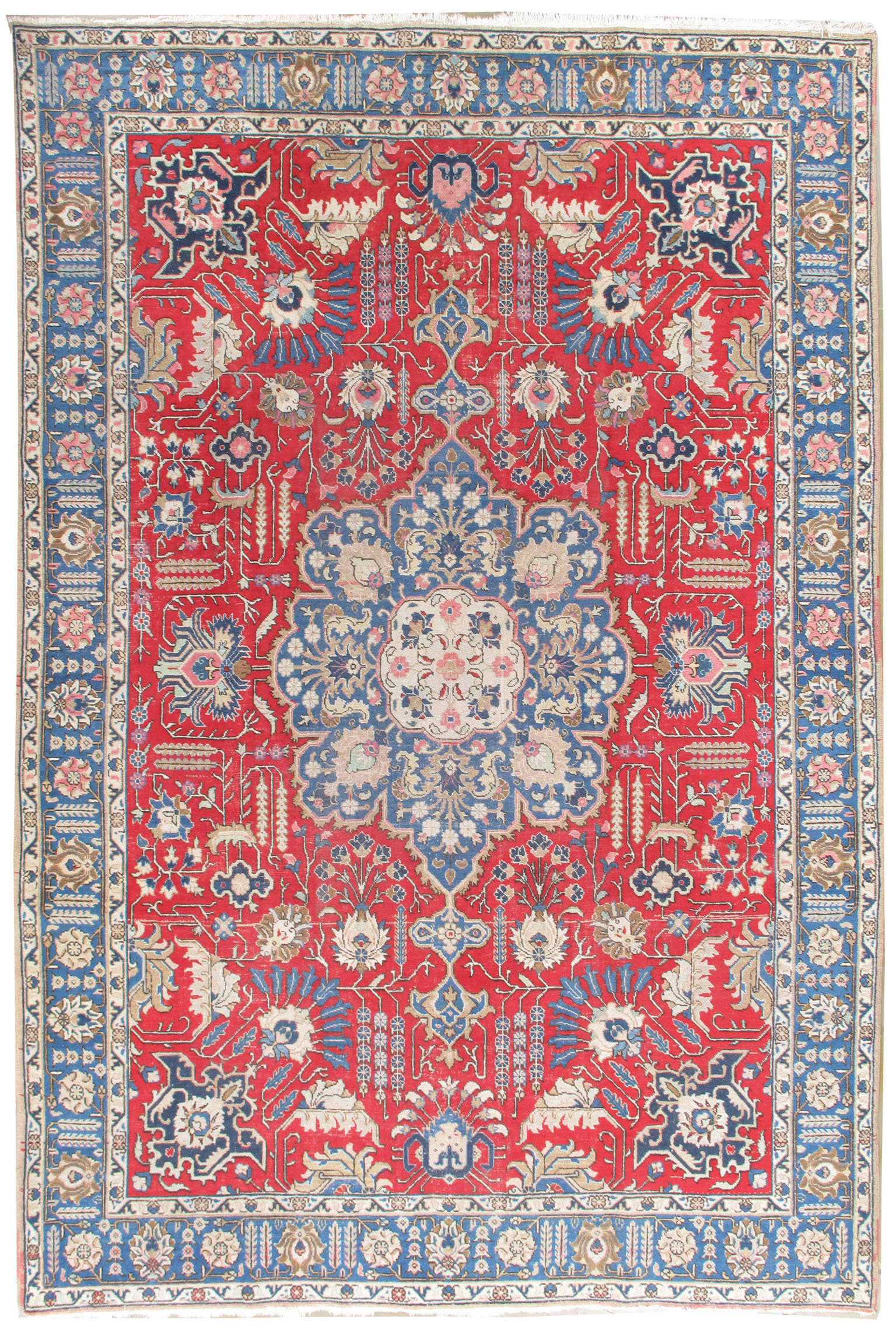 Vintage Lightly Distressed Persian Tabriz Rug