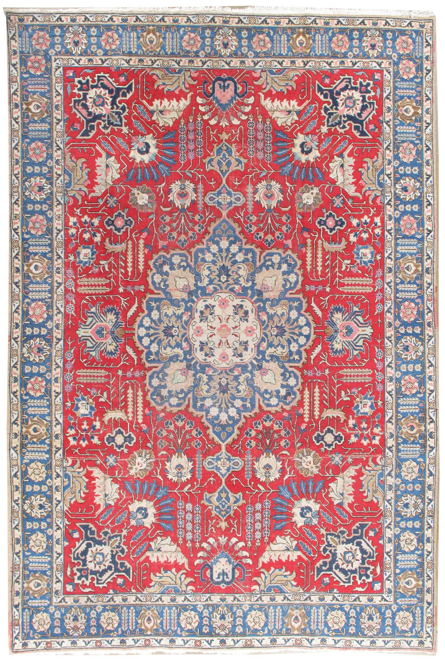 Vintage Lightly Distressed Persian Tabriz Rug