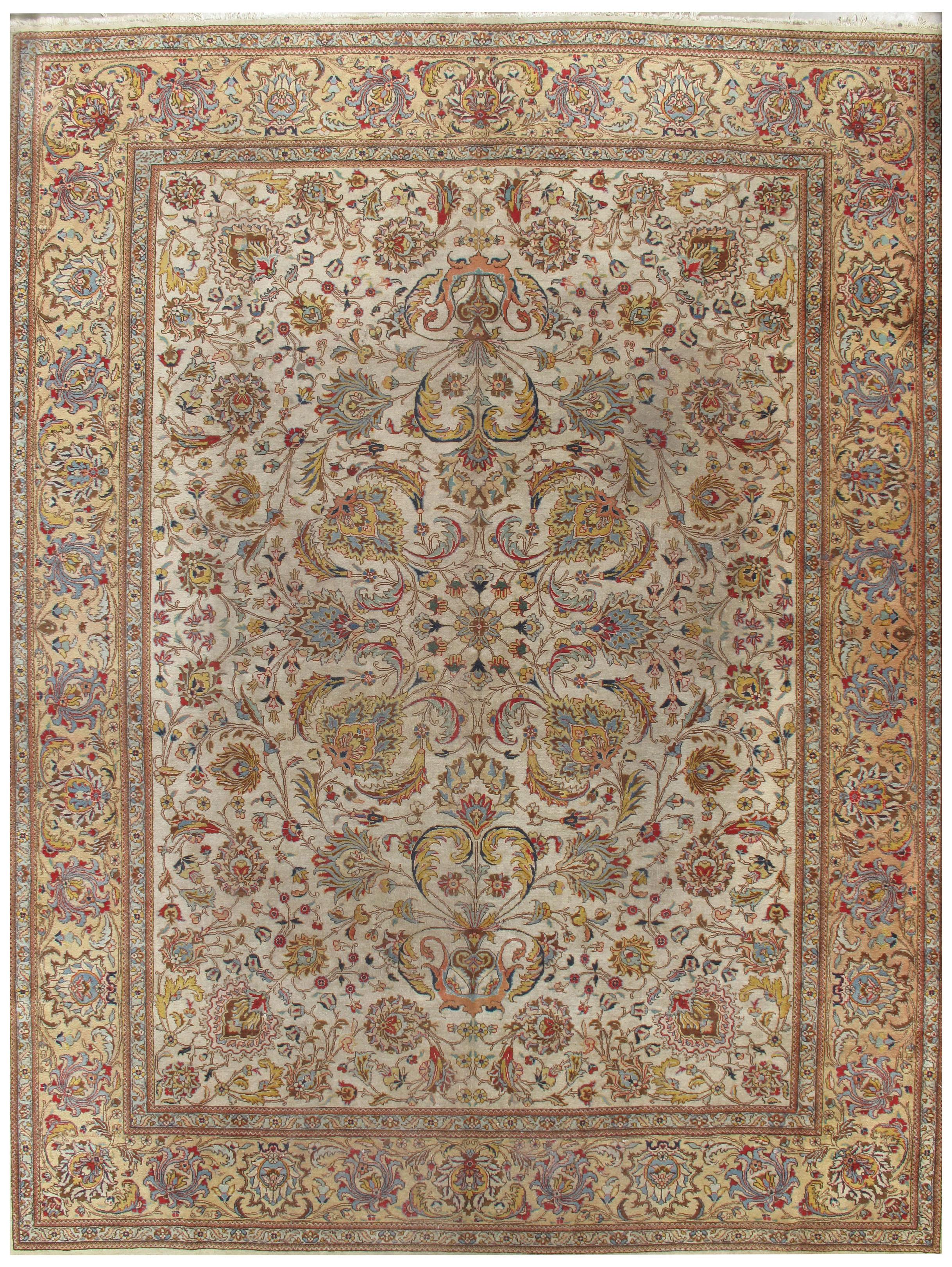 Vintage Lightly Distressed Tabriz Rug