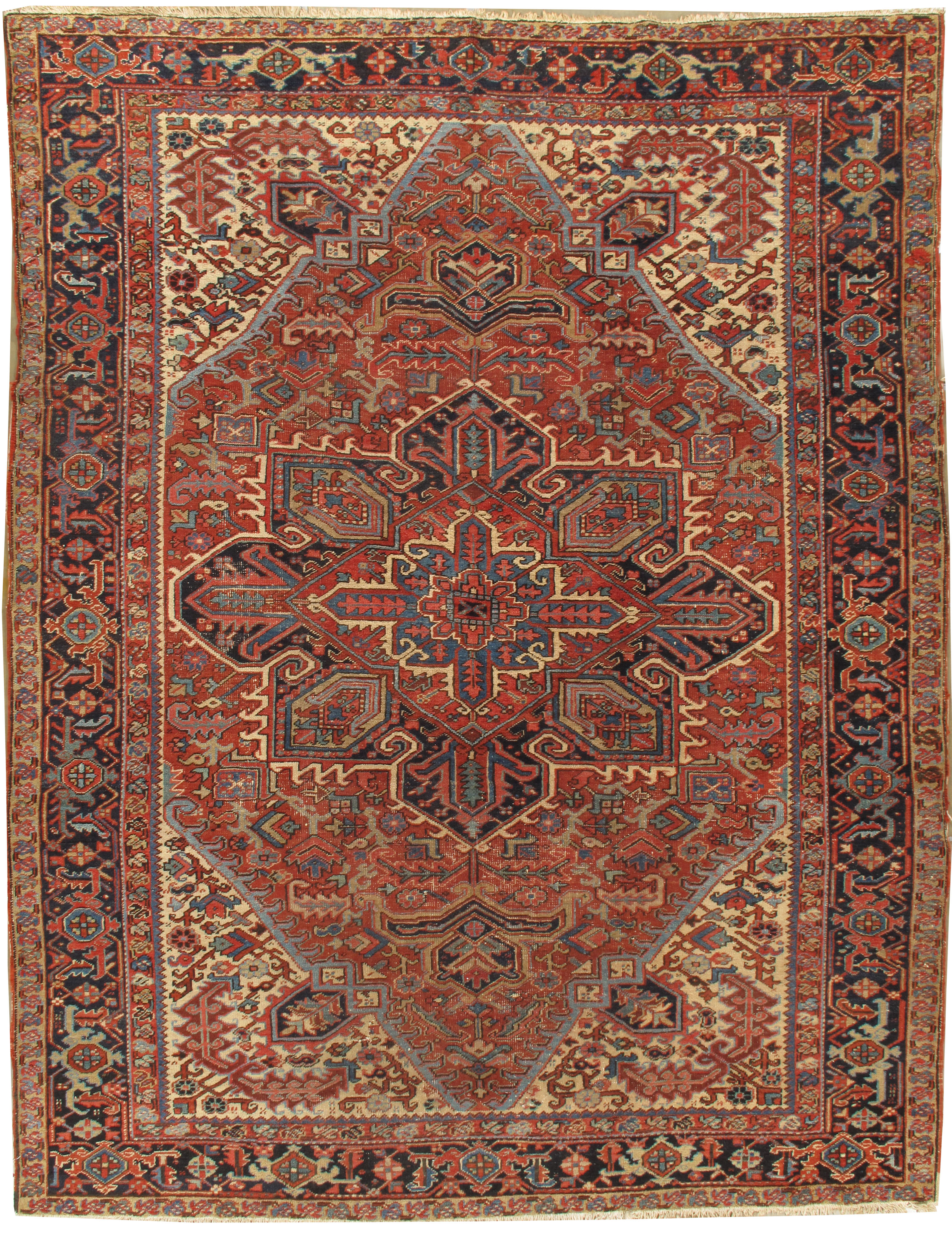 Vintage Persian Distressed Heriz Rug