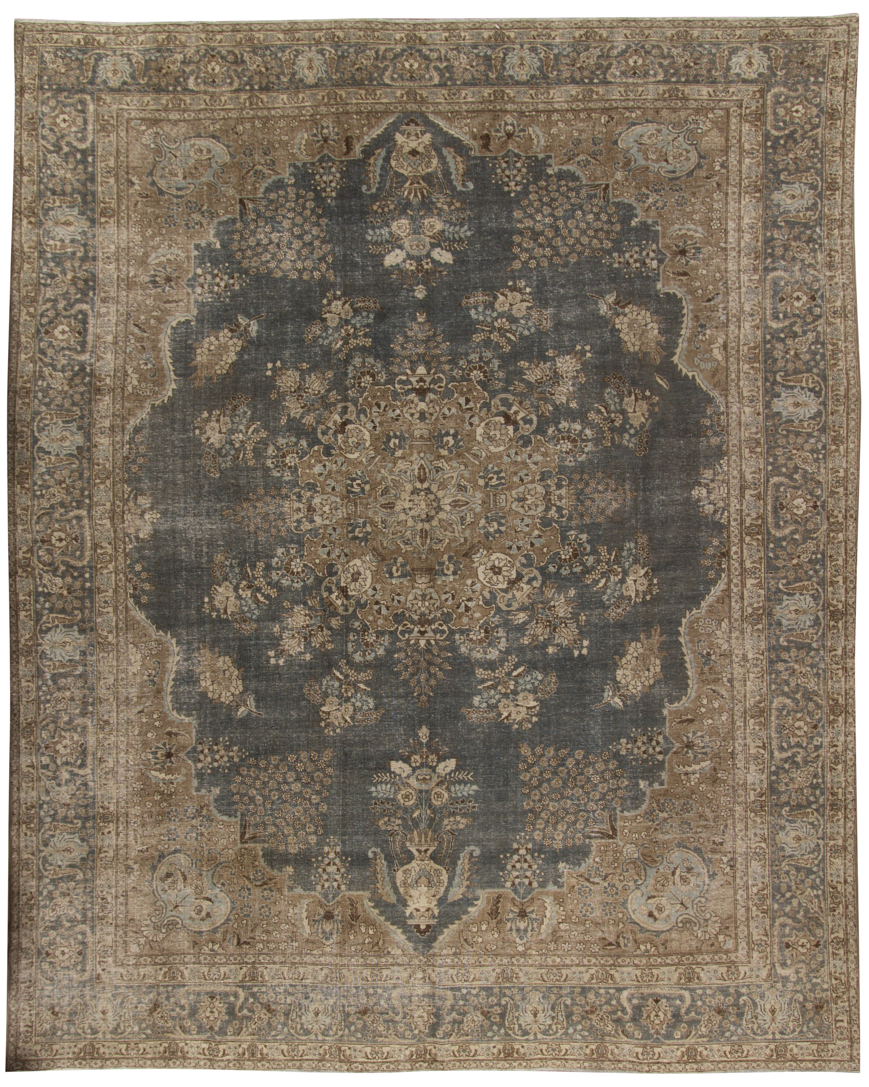 Vintage Lightly Distressed Tabriz Rug