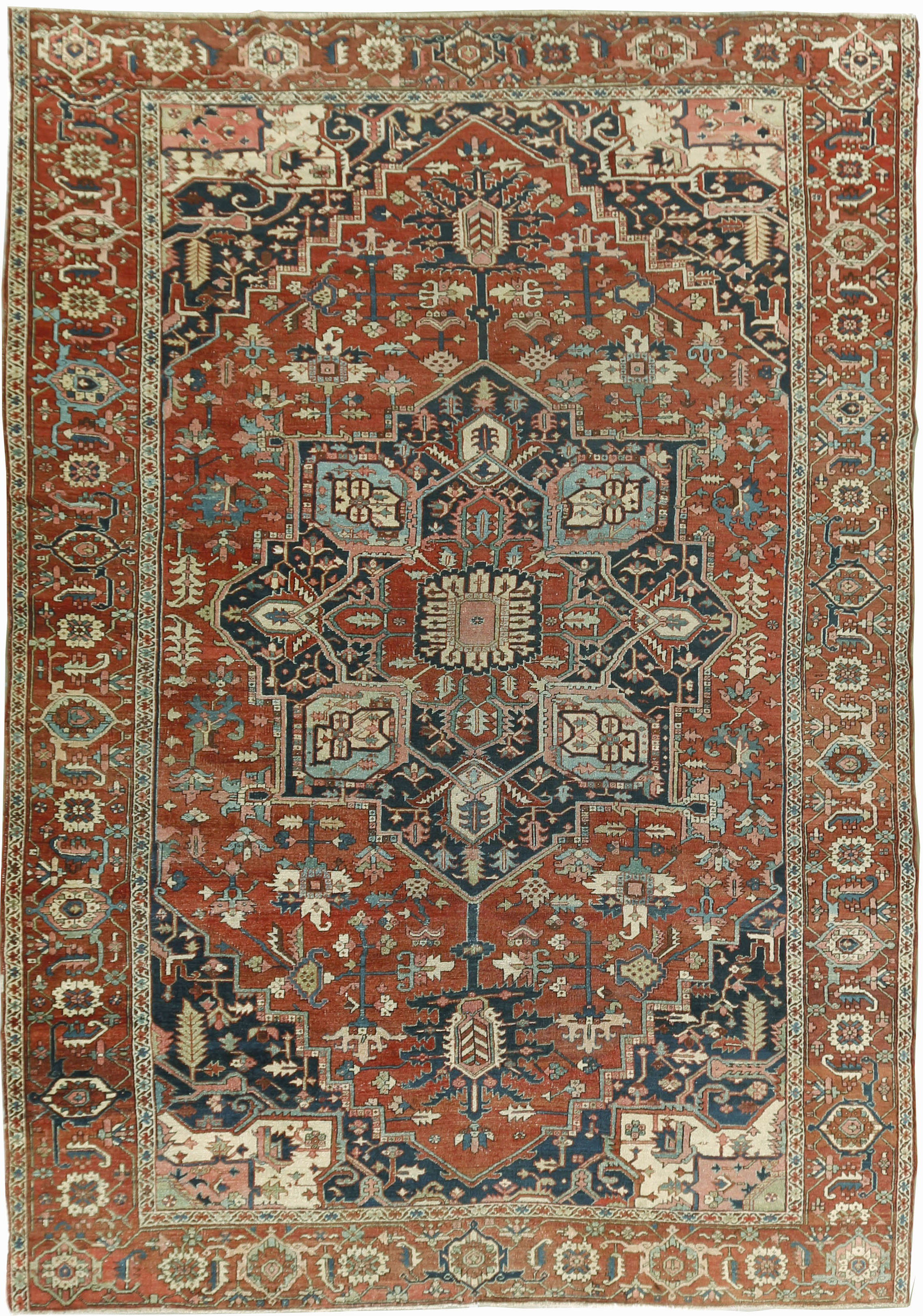 Geometric Antique Persian Heriz Serapi Rug U 1613