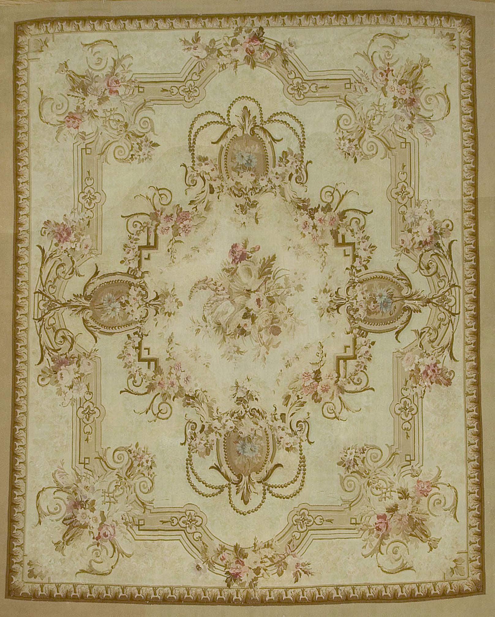 Antique French Aubusson Rug U 1733